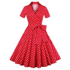 Retro Polka Dot Print Bowknot Flare Dress, RED, XL in Vintage Dresses | DressLily.com