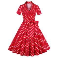 Retro Polka Dot Print Bowknot Flare Dress, RED, XL in Vintage Dresses | DressLily.com