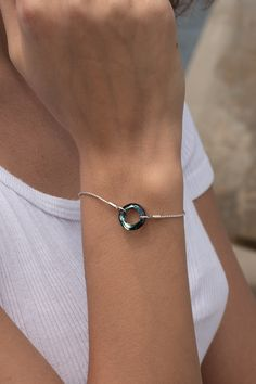 Simply striking, this bracelet has a pretty abstract circle iridescent Blue Austrian crystal as its focus. Timeless, delicate and elegant with subtle shimmer and statement appeal. Crystal Bracelets, Cuff Bracelets, Stainless Steel Alloy, Austrian Crystal, Iridescent, Perfect Fit, Campaign, Delicate, Chain