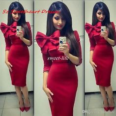 Simple Red Sheath Short Cocktail Party Dresses with 3/4 Sleeves Bow Knee Length Satin 2017 Women Club Dress Homecoming Party Gowns Cheap Cocktail Dresses Cheap Short Party Dresses Online with 92.0/Piece on Sweet-life's Store | DHgate.com