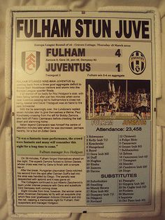 FULHAM 4 JUVENTUS 1 - 2010 EUROPA LEAGUE - SOUVENIR PRINT Football Cards, Football Players, Fulham Fc, Everton Fc, Europa League, My True Love, Club, A Team, Game