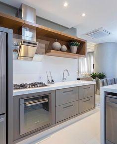 """6,533 Likes, 41 Comments - Decor•house•Home•Casa•Int•arq (@_homeidea) on Instagram: """"Cinza, branco e madeira numa cozinha super inspiradora!  Amei! @pontodecor  Projeto @dennysphoto…"""""""