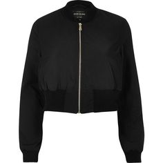 River Island Black cropped bomber jacket ($19) ❤ liked on Polyvore featuring outerwear, jackets, bomber, coats, nylon bomber jacket, river island, long sleeve crop jacket, flight bomber jacket and flight jacket