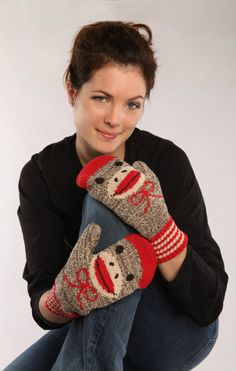 Sock Monkey Smile Mittens - Recycled Cotton #madeintheusa www.green3apparel.com
