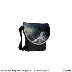 Mother and Baby Wolf Snuggle in the Moonlight Bag