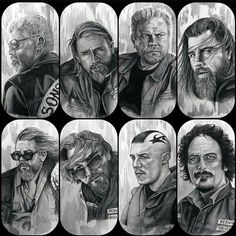 Sons of Anarchy Cast Watercolor Portraits- Set of 8 Prints- Illustration- Jax Teller- Clay Morrow- Opie Winston- Tig Trager- Juice