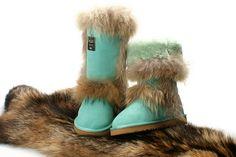 pale blue Ugg boots (fur)