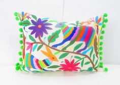 Mexican Otomi pillow cover handmade animal and by Mexicanhomedecor