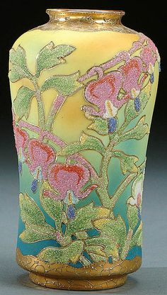 A NIPPON CORALENT DECORATED PORCELAIN VASE circa 1909 WITH BEADED GLASS DECORATION OF BLEEDING HEARTS  ON AN AMBER AND BLUE SHADED GROUND