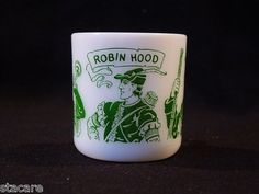 Hazel Atlas Robin Hood White Glass Kiddie Childs Mug Vintage