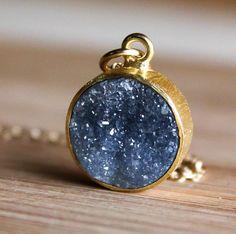 WINTER SALE Gold Black Druzy Necklace  Gemstone Necklace by OhKuol, $53.55