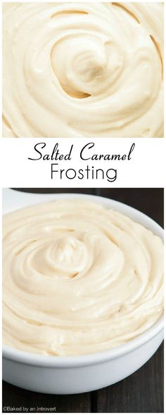 Frosting Creamy salted caramel frosting that pairs great with chocolate or vanilla cakes.Creamy salted caramel frosting that pairs great with chocolate or vanilla cakes. Frosting Recipes, Cupcake Recipes, Baking Recipes, Cupcake Cakes, Dessert Recipes, Buttercream Frosting, Cake Icing, Frosting Tips, Poke Cakes