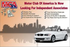 Join MCA Motor Club of America. MCA Recruiter Agent   www.passiveliving.info/signup     make $80 per sale with mca