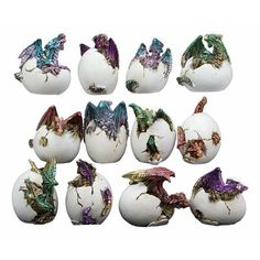 Ebros Gift Ebros Miniature Set Of 12 Wyrmling Dragons In Eggs Figurine Set Colorful Fantasy Egg Hatchling Figurines Set Of 12 Dungeons And Medieval Fa