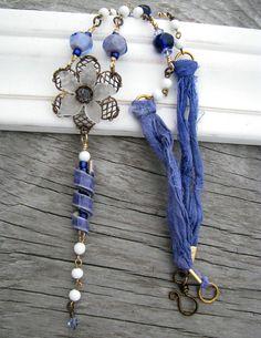 Periwinkle Dreams... Artisan Ceramic Bead and Lampwork Glass. OOAK Artisan Necklace
