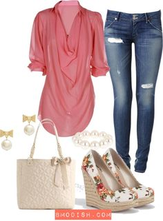 Coral Pink layered blouse <3