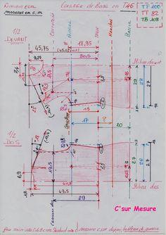 Schémas en mesures de la Base Corsage ( Taille de Base 46), d'après le tableau de mesures csm standard !
