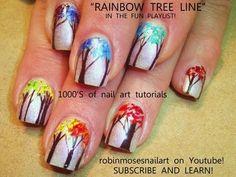 RAINBOW TREE OF LIFE NAILS! robin moses ombre trees nail art design tutorial 645