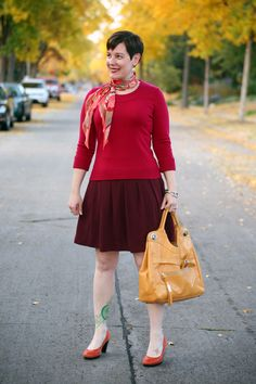 Already Pretty outfit featuring vintage scarf, red sweater, burgundy pleated skirt, Foley + Corinna Jet Set