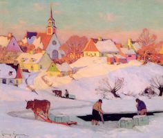 """Clarence Gagnon, """"The Ice Harvest,"""" oil on canvas. Such gorgeous, mellow light. Art And Illustration, Illustrations, Canadian Painters, Canadian Artists, Winter Painting, Winter Art, Landscape Art, Landscape Paintings, Clarence Gagnon"""