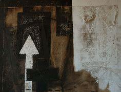 Nero e bianco sedimentato. Tecnica mista su tavola, cm. 84,5x119