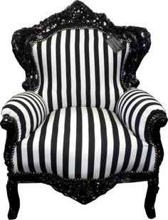 Black and white striped rococo chair, this is what I'm doing to my couch :) black lacquer and thick stripes.