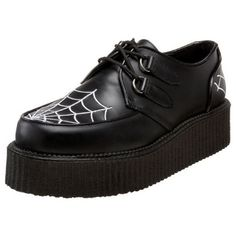 Demonia Creepers Spider Web ❤ liked on Polyvore featuring shoes