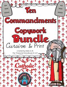 Ten Commandments Copywork in Cursive and Print BUNDLE - Catholic - The Treasured Schoolhouse