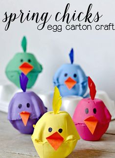 These little egg carton chicks are perfect for Easter, spring, or just because! The kids will love making them and it's a fun way to reuse something old to make something new.    Supplies  egg carton  acrylic paint & brush  glue, scissors, marker  construction paper     	Cut apart two egg holders from the carton and trim off the excess on the edges