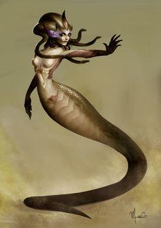 Medusa - Concept Art by mgarciam on DeviantArt Greek Mythological Creatures, Mythical Creatures Art, Fantasy Creatures, Medusa Art, Medusa Gorgon, Greek Monsters, Snake Girl, Humanoid Creatures, Alien Concept Art