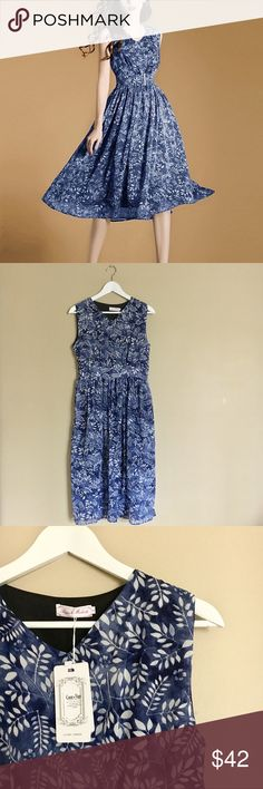 """•Couer de Vague• Blue Floral A-Line Dress •This dress is new with tags •European sizing  •Hand wash •This dress was a featured product on zuilily •Lined  Measurements are approximate: Bust: 34"""" Waist: 26"""" Hips: 36.5""""  02.23 Coeur de Vague Dresses"""