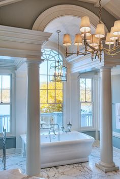 Luxury Master Bathroom with pillars & amazing windows