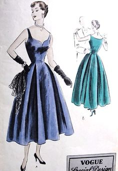 1950s BEAUTIFUL Evening Gown Cocktail Party Dress Pattern VOGUE Special Design 4050 Flattering Shaped Neckline Bust 34 Vintage Sewing Pattern
