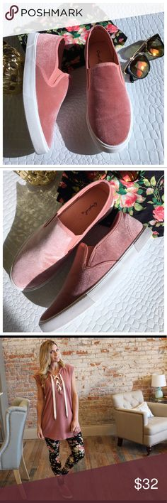 Blush velvet slip ons Such adorable shoes! Look great with just about anything.  New in box. Add to bundle to save when purchasing. IR9070729 Shoes Flats & Loafers