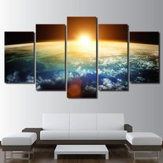 Us 70 Wall Art Pictures Home Decor Living Room Hd Prints 5 Piece Sun Rising Over Earth Poster Universe Space Canvas Painting Framework In Painting Canvas Frame, Canvas Wall Art, Earth Poster, Thing 1, Earth From Space, Canvas Poster, Poster Wall, Cross Paintings, Wall Art Pictures