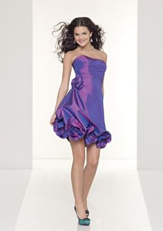 Distinct Strapless Flower Taffeta Evening Dress