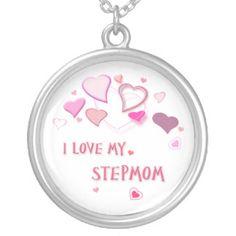 I Love my Stepmom Pretty Pink Lovehearts Round Pendant Necklace