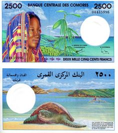 Comoros 2,500 Francs Price: $175.00 Pick #: 13 Year: 1997 Grade: UNC Other Info: African Currency Coloration: Multicolored Depictions: Woman wearing headscarf; Shoreline; Sea Turtle Continent: Africa Watermark: Four stars below crescent