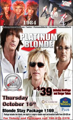 We're excited to host Platinum Blonde on their 30th anniversary concert tour - coming to Camrose on October 16.