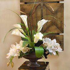 Silk Floral Arrangements, Church Flower Arrangements, Church Flowers, Funeral Flowers, Floral Centerpieces, Flowers Garden, Tall Centerpiece, Centerpiece Wedding, Cymbidium Orchids