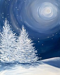 Acrylic Painting crafts - Painting Trees With A Fan Brush S Winter Painting, Winter Art, Winter Snow, Winter Night, Winter Cabin, Christmas Paintings, Christmas Art, Christmas Scenes, Beautiful Christmas