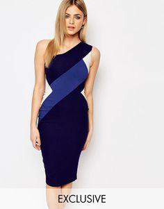 Vesper+Contrast+One+Shoulder+Midi+Pencil+Dress+With+Contrast+Panel