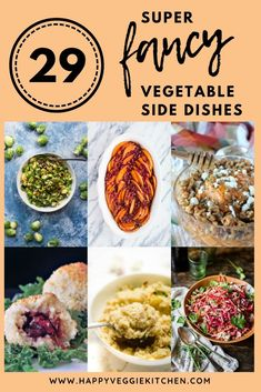 Add some sparkle to your Thanksgiving or Christmas Dinner with these deliciously fancy vegetable side dishes. These recipes will help you twist up the classics and bring new veggies to the table. They'll delight your foodie family and friends, with consid Vegetarian Christmas Recipes, Vegetarian Thanksgiving, Vegetarian Recipes Dinner, Thanksgiving Recipes, Vegan Christmas, Holiday Recipes, Vegetarian Side Dishes, Vegetarian Appetizers, Healthy Side Dishes