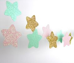 Twinkle, Twinkle Little Star Stars Garland, Glitter Paper Garland, Gold, Blush and Mint, Baby Shower, Party Decorations, Birthday Decor by TheLittleThingsEV on Etsy https://www.etsy.com/listing/250099602/twinkle-twinkle-little-star-stars