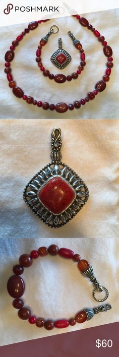 Carolyn Pollack Red Jasper Carnelian Beaded Set Carolyn Pollack Red Jasper Carnelian Beaded Set with Enhancer- Sterling Silver Carolyn Pollack Jewelry