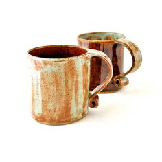 Ceramic Tea Cups  Hobbit Coffee Mugs in Mint Green by GlazedOver, $46.00