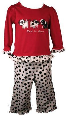 B T Kids Fall/Winter Baby Girls Puppies Polka Dot Pant Set-12 Months  #BtKids #Apparel