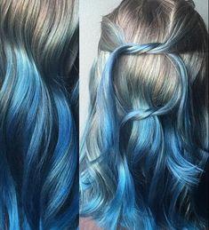 Gorgeous silver and blue color melt by sam ploskonka silver hair blue hair Ombre Hair Azul, Reverse Ombre Hair, Brown Ombre Hair, Blue Ombre, Ombre Hair Color, Hair Color Balayage, Hair Color For Black Hair, Blue Hair, Undercolor Hair