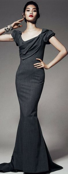 Zac Posen gray maxi dress women fashion outfit clothing style apparel @roressclothes closet ideas