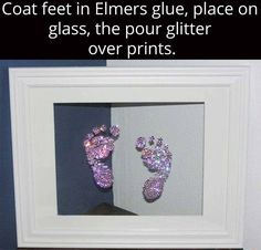 Baby footprints in glitter